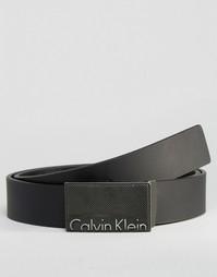 Регулируемый кожаный ремень с логотипом Calvin Klein CK - Черный