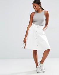 Джинсовая юбка-трапеция Vero Moda - Снежно-белый