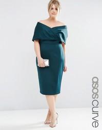 Облегающее платье-премиум с топом в стиле кейп ASOS CURVE