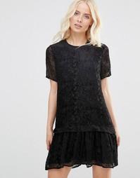 Кружевное платье с заниженной талией Y.A.S - Черный