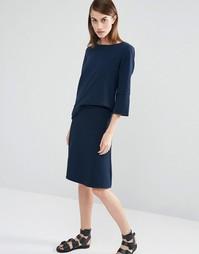 Расклешенная трикотажная юбка Selected Inca - Темно-синий