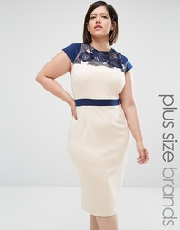 Платье-футляр размера плюс с вышивкой Little Mistress - Кремовый