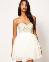 Платье для выпускного с украшенным лифом Lipsy VIP - Кремовый