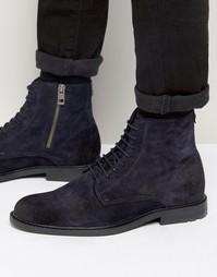 Замшевые ботинки на шнурках Boss Orange Cultroot - Темно-синий
