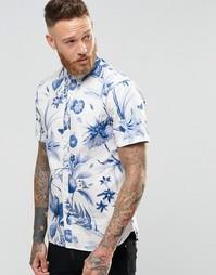 Синяя рубашка с короткими рукавами и цветочным принтом Penfield