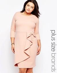 Платье с драпировкой Goddiva Plus - Телесный