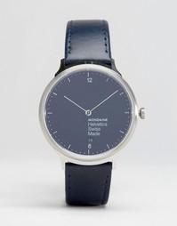 Серебристые часы с темно-синим ремешком Mondaine Helvetica No1 38mm