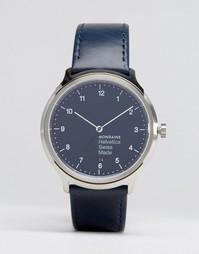 Классические часы с темно-синим ремешком Mondaine Helvetica No1 40mm