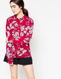 Рубашка с цветочным принтом Minimum Thit - Насыщенный красный