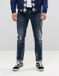 Грязно-синие джинсы скинни с прорехами ASOS - Синий
