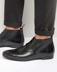Кожаные ботинки на шнуровке Hugo Boss Paris - Черный