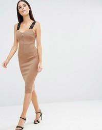 Облегающее платье миди на молнии с бретельками AX Paris - Мокка