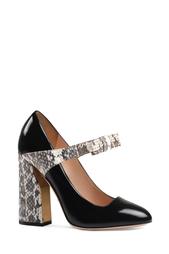 Туфли из лакированной кожи и кожи змеи Gucci