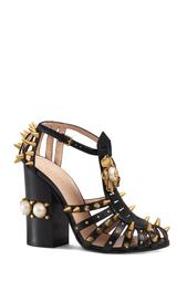 Кожаные босоножки с жемчугом Gucci