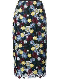 кружевная юбка с цветочной вышивкой Erdem