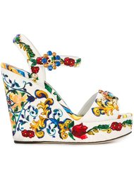 босоножки на танкетке с принтом 'Majolica' Dolce & Gabbana