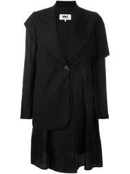 асимметричное пальто в полоску Mm6 Maison Margiela