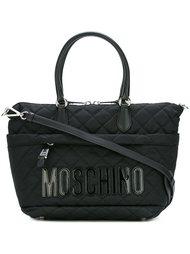 стеганая сумка-тоут с логотипом  Moschino