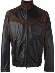 кожаная куртка с панельным дизайном Kiton