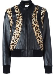 куртка-бомбер с леопардовыми панелями Saint Laurent