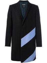 пальто средней длины с контрастными полосками MSGM