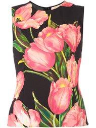 топ с узором в виде тюльпанов Dolce & Gabbana