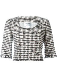 укороченный пиджак в ломаную клетку Chanel Vintage