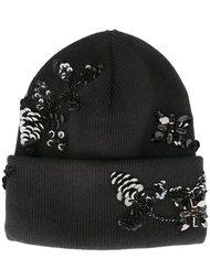 шапка с цветочным украшением из пайеток Dsquared2