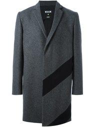 однобортное пальто с контрастной полоской MSGM
