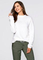 Пуловер с воротником-стойкой (цвет белой шерсти) Bonprix