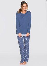Пижама (меланжевый индиго/с принтом) Bonprix