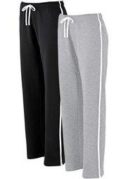 Трикотажные брюки для бега (2 шт.) (темно-синий + светло-серый мел) Bonprix