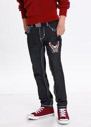 Брюки Slim Fit с укрепленными швами и стильным принтом, Размеры  116-170 (черный) Bonprix