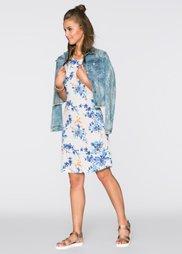 Платье с принтом (бежевый/синий в цветочек) Bonprix
