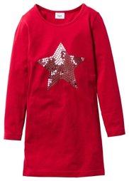 Платье с пайетками, Размеры  116/122-164/170 (темно-красный) Bonprix