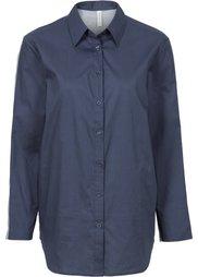 Рубашка в стиле бойфренд с трикотажной вставкой (цвет белой шерсти/светло-серый) Bonprix