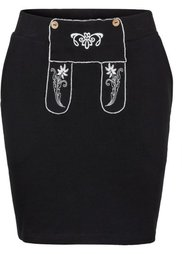 Трикотажная юбка с вышивкой (темно-красный) Bonprix