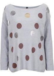 Пуловер (виноградный/металлик/с принтом) Bonprix