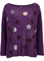 Пуловер (сине-серый/металлик/с принтом) Bonprix