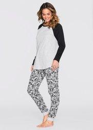 Пижама (светло-серый меланж/черный с р) Bonprix