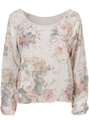 Блузка (серо-коричневый в цветочек) Bonprix