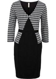 Офисное платье (темно-коричневый/белый) Bonprix