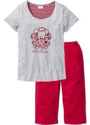 Пижама-капри (светло-серый меланж/темно-сини) Bonprix