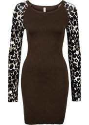 Вязаное платье (леопардовый/черный) Bonprix