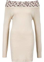 Пуловер с открытыми плечами (черный/бежевый) Bonprix