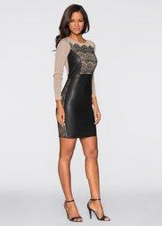 Платье с кружевными вставками (леопардовый/коричневый) Bonprix