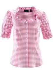 Традиционная блузка с коротким рукавом (клубничный/белый в клетку) Bonprix