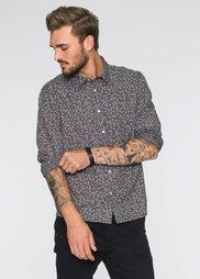 Рубашка Regular Fit с длинным рукавом (антрацитовый с рисунком) Bonprix