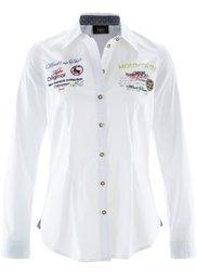 Блузка в традиционном стиле с длинным рукавом (белый/красный в клетку) Bonprix