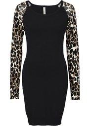 Вязаное платье (леопардовый/темно-коричневый) Bonprix